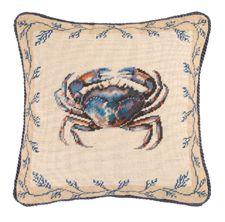 "Crab Needlepoint Pillow 16"" x 16"""