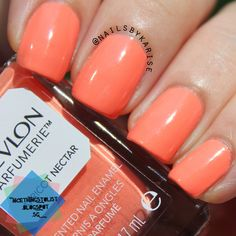 A swatch of Revlon Apricot Nectar. It smells really really very very sweet LOL no joke! The color wise is amazing, almost neon pop under sunlight! Read more here: http://nicethingstolist.blogspot.sg/2014/07/revlon-apricot-nectar-swatch-and-review.html