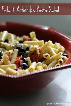 Feta & Artichoke Pasta Salad - Persnickety Plates