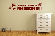 """Amazon.com - Everything is awesome wall decor vinyl lettering decal for geeks, nerds and kids bedroom lego block theme 2284 (Medium - 36"""" x 8.5"""", Black Glossy) -"""