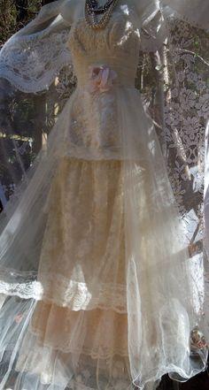 Boho Wedding Dress tiered lace vintage tulle by vintageopulence