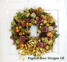 Della Robbia Wreath * Christmas Wreath * Winter Wreath * Christmas Decor * Holiday Wreath * Holiday Decor * Fruit Wreath * Gold Wreath by englishrosedesignsoh on Etsy