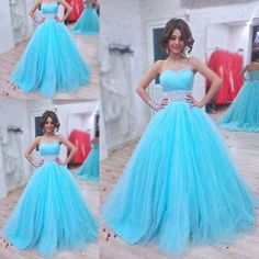 Sweetheart Ball Gown Evening Dresses,Sweet 16 Dresses,http://hilldressing.storenvy.com/products/17412236-sweetheart-ball-gown-evening-dresses-sweet-16-dresses-blue-tulle-prom-dresse