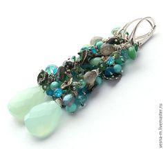 Купить Длинные серьги из серебра и натуральных камней - бирюзовый, голубой, зеленый, серьги, серебряный
