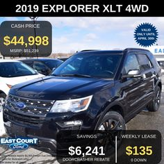 """tock # 04.17 - EL97025  $0 DOWN,  2019 FORD EXPLORER IS A 4WD FOR DRIVING IN ANY TERRAIN. LEASE FOR $135/WEEK.  Key features  >XLT Appearace Package -Roof rack, black slide rails, & 20"""" Mach Allum Painted Pockets  >2.3L Ecoboost engine  >6-speed auto   >All season tires Ford Employee, 2019 Ford Explorer, All Season Tyres, Voice Acting, Car Deals, Car Ford, Roof Rack, Ontario, Engineering"""