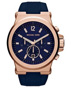 Michael Kors Men's Chronograph Dylan Navy Silicone Strap Watch 48mm MK8295 - Watches - Jewelry & Watches - Macy's