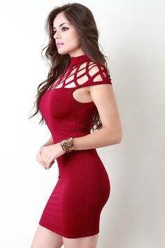 Grid Net Yoke Mock Neck Bodycon Dress