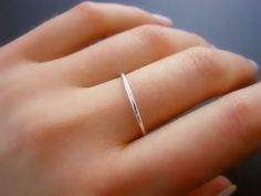 Thin Sterling Silver Ring, Skinny Ring, Minimal Round Siver Ring, Stacking Ring, Simple Ring, Midi Silver Ring