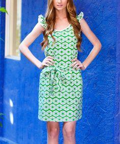 Love this Green & White Meris Flutter-Sleeve Dress by Ava Rose Designs on #zulily! #zulilyfinds