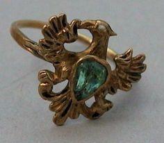 Eagle ring, 18th century, Germany, gold, enamel, emerald