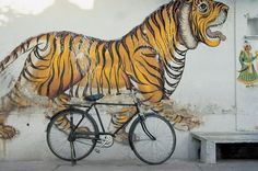 Bicycle at wall painting of tiger , Udaipur, Rajasthan, India - photographer unknown