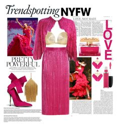 """""""Win it!! Trendspotting NYFW: HOT PINK"""" by simbarosse ❤ liked on Polyvore featuring Zana Bayne, Hillier Bartley, For Love & Lemons, Privileged, Katerina Makriyianni, ESCADA, Whiteley, MAC Cosmetics, contestentry and NYFWHotPink"""