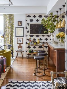 Design-world insider and PR maven Christina Juarez  drenches her New York apartment in color and pattern.