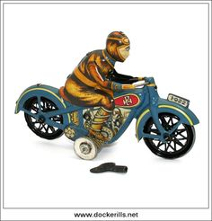 Moto Carrera Azul, Motorbike - 1932, PAYA HERMANOS, Spain. (Picture 1 of 2). Recent remanufacture of the original vintage toy using original tooling (not to be confused with Chinese copies). Limited edition with certificate. Vintage Tin Litho Tin Plate Toy. Wind-Up / Clockwork Mechanism. DOCKERILLS - TIN TOY REFERENCE - EUROPE - Kevin Dockerill - Picasa Web Albums