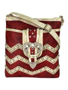 Burgundy and Beige Chevron Buckle Crossbody Bag