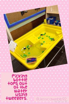 Picking out floating bottle tops using tweezers. EYFS could I add legs to make these bugs? Eyfs Activities, Nursery Activities, Motor Skills Activities, Gross Motor Skills, Water Activities, Preschool Activities, Eyfs Classroom, Outdoor Classroom, Water Tray Ideas Eyfs