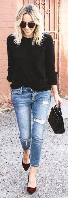 #winter #fashion / Black Knit / Ripped Skinny Jeans / Burgundy Heels