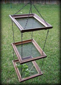 Herb dryer tutorial. NOTE: Quicker, if not cheaper, to get inexpensive window screens of desired size along with chain and eye screws from the hardware store. If hanging outside, can drape with mosquito netting to keep bugs and debris off.