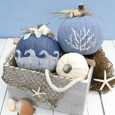 Nautical Themed Coastal Pumpkins - pretty unique pumpkin decorating ideas - DIY Halloween decor - modern pumpkin inspiration - ocean inspired painted funkin fake pumpkin tutorial