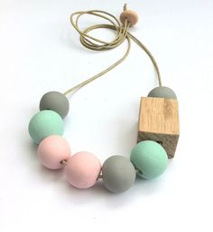 Handmade Clay bead and Timber Block Necklace - Mint, Pastel Pink and Grey on Etsy, $38.00 AUD