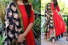 Bright Red jute cold shoulder dress with kalamkari edging to the flare teamed up with mangalagiri cotton hand Kalamkari Designs, Kurta Designs, Blouse Designs, Chudidhar Designs, Dress Designs, Designer Kurtis, Designer Dresses, Indian Dresses, Indian Outfits