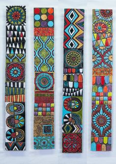 Global Folk Sticks (your choice of pattern) handmade tile wall art, vertical or h . - Global Folk Sticks (Your Choice of Pattern) Handmade Tile Wall Art, Vertical or Horizontal Art, Gal - Mosaic Wall Art, Wall Tiles, Mosaic Artwork, Mosaic Mirrors, Pottery Shop, Painted Sticks, Painted Wood, Handmade Tiles, Handmade Art