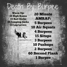 Death by burpees. 20 min workout. Get it done!!!