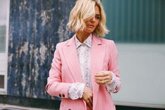 Let's make pink pant suits a staple on par with white button downs.