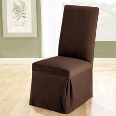 Sure Fit Stretch Pique Long Dining Room Chair Slipcover - Chocolate