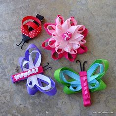 Hair accessories diy sewing new ideas Ribbon Art, Ribbon Crafts, Ribbon Bows, Diy Crafts, Hair Ribbons, Kanzashi, Ribbon Sculpture, Bow Tutorial, Diy Hair Accessories