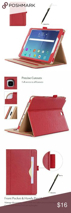 """Samsung Galaxy Tab A 9.7 Case - Red Standing Cover Folio Case for 2015 Galaxy Tab A Tablet 9.7"""" with multiple viewing angles, auto sleep/wake, document card pocket Other"""