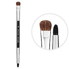 Stila - #15 Double Sided Brush - still my favorite eye shadow brush til this day. Picks up makeup perfectly - and does creases like a pro!