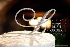AZ Initial Wedding Cake Toppers in Elegant Script by tangedesign