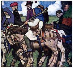 "Walter Appleton Clark (1878-1906), illustreerde 6 kleurplaten in het boek The Canterbury Tales (naar Geoffry Chausser) van Percy Mackaye in 1904 Prioress Tale (000) ""Herewith he brougt us out of town"""