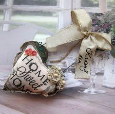 Srdíčko+Home+Šité+srdíčko+sramínkem+z+drátu,+mašlí,+šitými+a+háčkovanými+květy,+ručním+nápisem,+..výška+závěsu26+cm. Napkin Rings, Hearts, Pillows, Decor, Decoration, Cushions, Decorating, Pillow Forms, Cushion