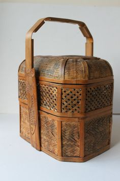 Vintage Chinese Wedding Basket Picnic Basket Lunch Box by foxbride