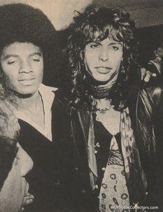 Michael Jackson and Steven Tyler, 1977.