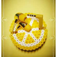 Lemon headphone organizer perler beads by  everydaydiyprojects                                                                                                                                                                                 More