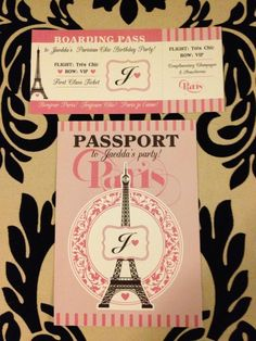 Custom Invites - Parisian themed party by Couture Events - http://www.couture-events.biz/portfolio/