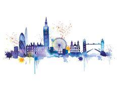 London Skyline Art Print by Summer Thornton at King Painting Prints, Wall Art Prints, Poster Prints, Canvas Prints, Paintings, Skyline Painting, Skyline Art, Skyline Design, Skyline Von London