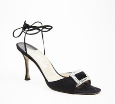 Manolo Blahnik Black And Crystal Sandal Unique Shoes 6e924cd4e8
