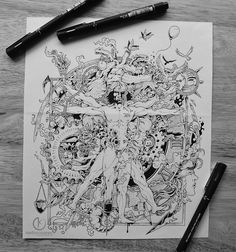 """MORE DIE OF HEARTBREAK, Kerby Rosanes. Commissioned illustrations for the album art of New York-based hip hop artist, Chuckie Campbell entitled """"More Die of Heartbreak"""". A creative spin of Da Vinci's """"Vitruvian Man"""" infusing themes from the songs of the album such as elements of domestic violence, suicide, heartbreak and city life that are contrasted with elements of hope, creativity and inspiration."""