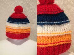 1970s 80s Cute Bright Orange/Red/White/Blue Striped Fuzzy Knit Winter Cap With Pom Pom Unisex Adult Size