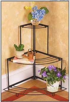 Indoor Outdoor Curved 3 Tier Corner Plant Stand Yard Patio Deck ~ Use Up To 4