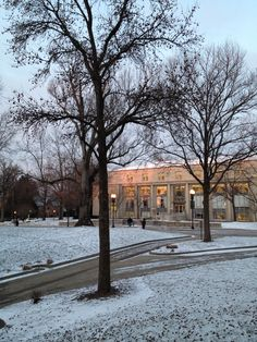 Pink sunrise x early-morning snow x Andrews library