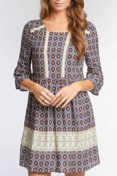 The Bohemian print dress feature a fun fabric design with a 3/4 sleeve with a lace trim accent on the front. Pair with brown booties and accessories.   Bohemian Print Dress by She & Sky. Clothing - Dresses New Jersey