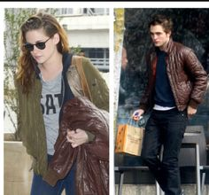Kristen with Rob's jacket today at JFK..aww.