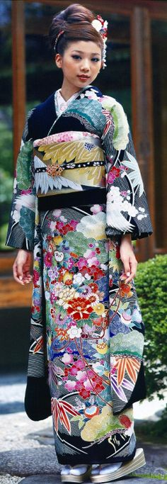 Contemporary 'furisode' (long-sleeved kimono for young single women].  Japan.  Image via Pinterest