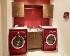 small laundry room cabinets ideas base cabinet with sink red washer dryer  Raine & Horne Approved  #rhnewtown