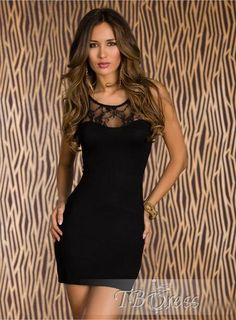 Pealike Split Joint Lace Round Neckline Black Bodycon Dress. Get thrilling discounts up to 80% Off at TBDress using Coupon and Promo Codes.